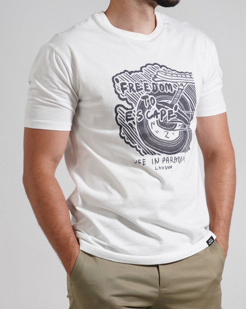 White Motorbike Burnout T-shirt - Life in Paradigm Menswear London
