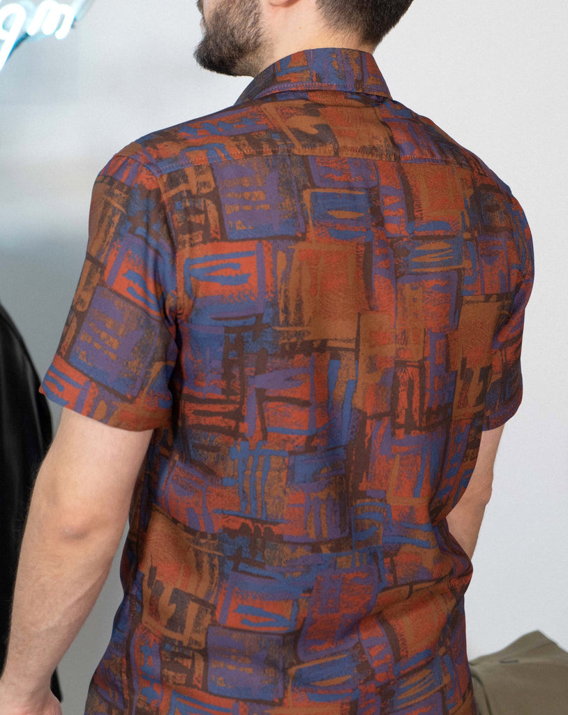 Orange Retro Pattern Short Sleeve Shirt - Life in Paradigm