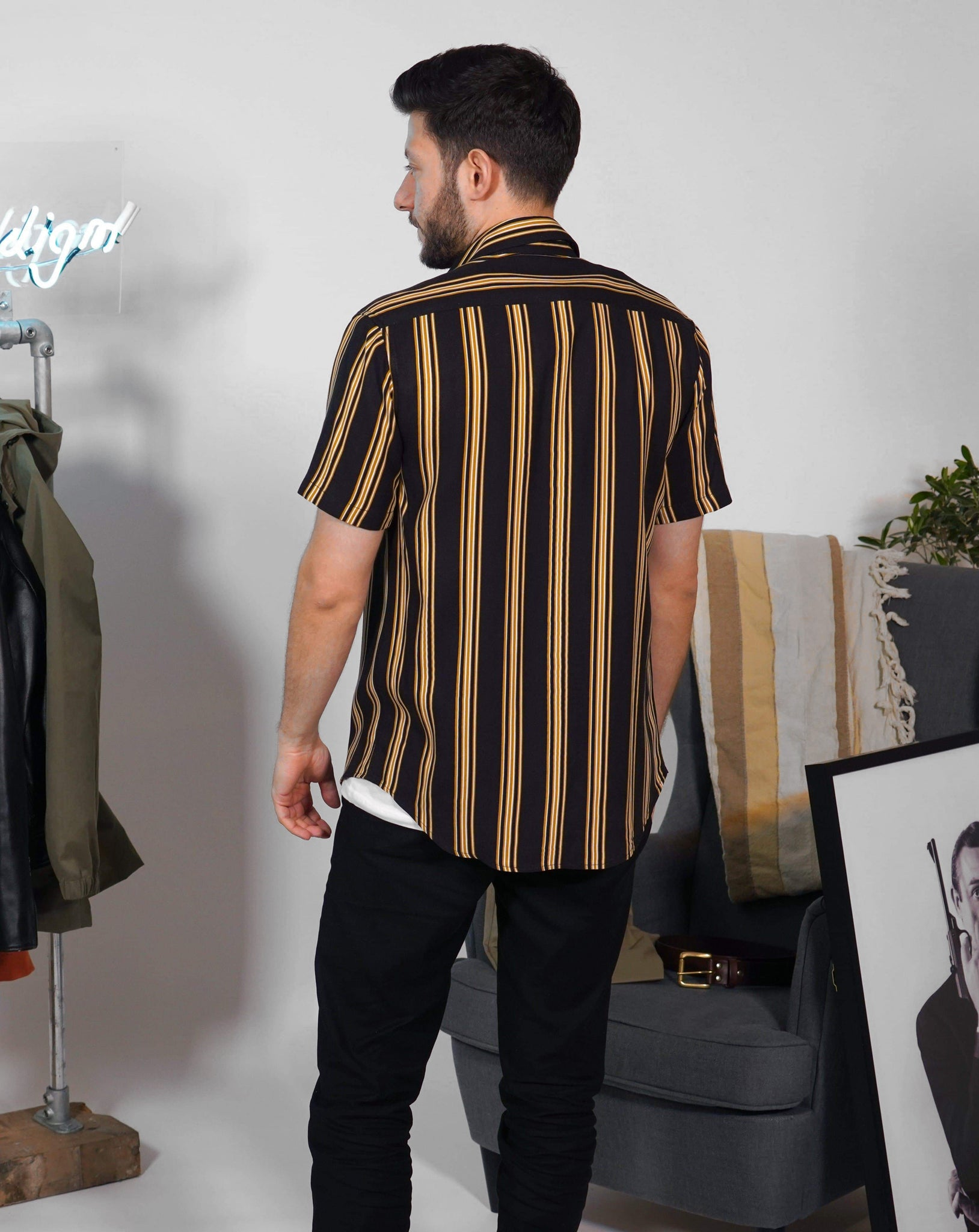 Black and Mustard Stripped Short Sleeve Shirt - Life in Paradigm Menswear London