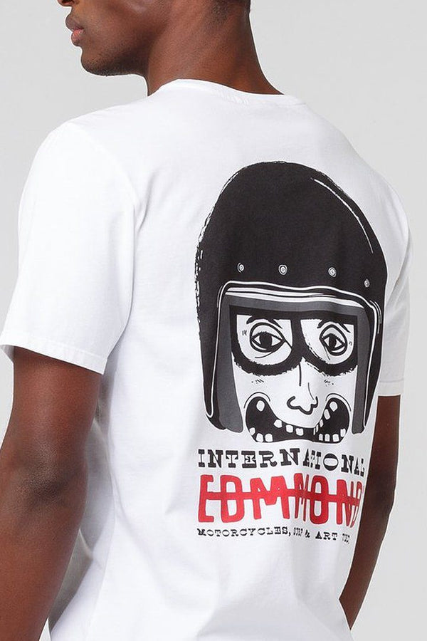 White Motorbike Helmet T-shirt - Life in Paradigm Menswear London