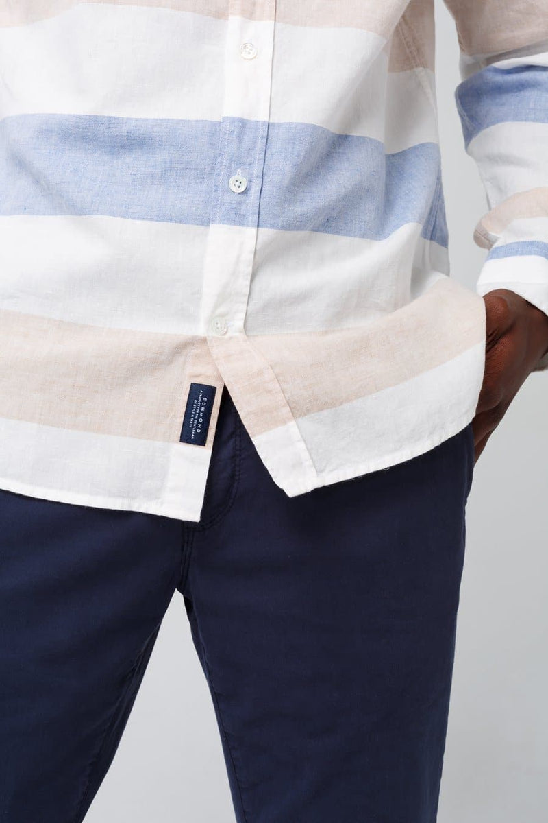 Button Down Blue White and Pink Linen Strip Shirt - Life in Paradigm Menswear London