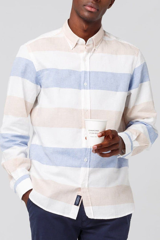 Button Down Blue White and Pink Linen Strip Shirt - Life in Paradigm