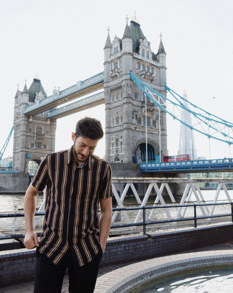 Black and Mustard Striped Short Sleeve Shirt - Life in Paradigm Menswear London