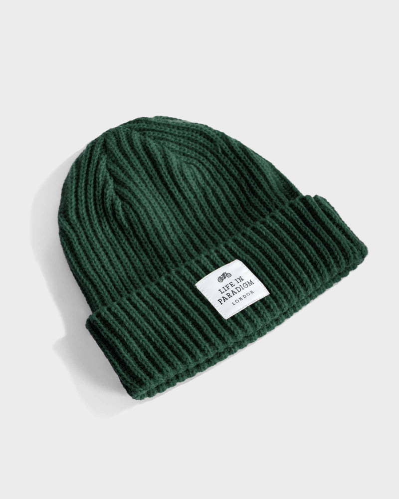 Forest Green Ribbed Fisherman Beanie - Life in Paradigm Menswear London