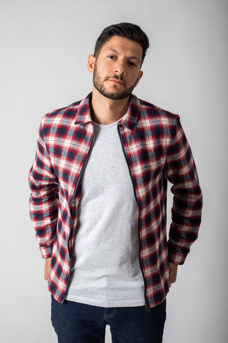 Red and Navy zip up check shirt