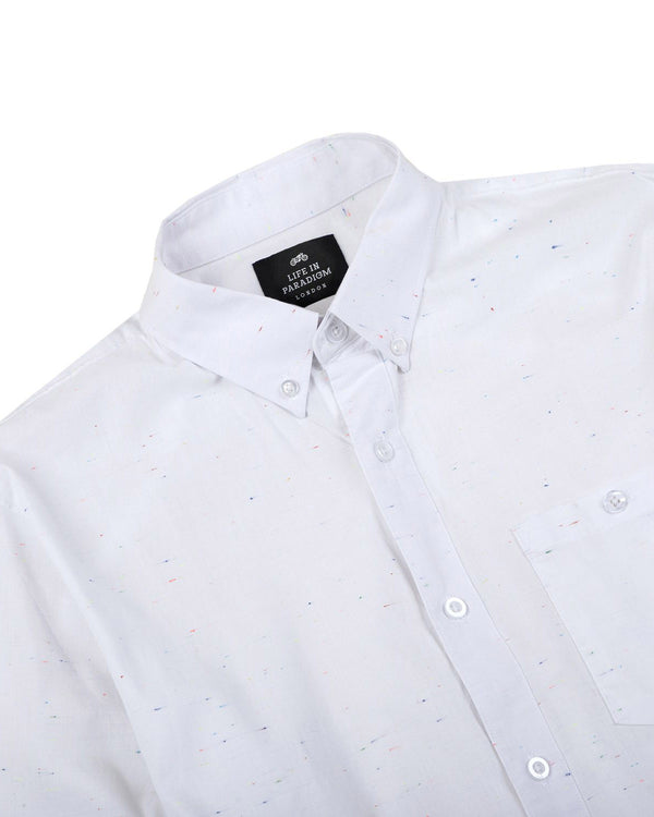 White Speckled Oxford Shirt - Life in Paradigm Menswear London