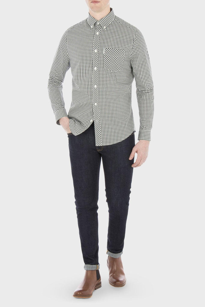 Green & White Checkered Gingham Long Sleeve Shirt - Life in Paradigm