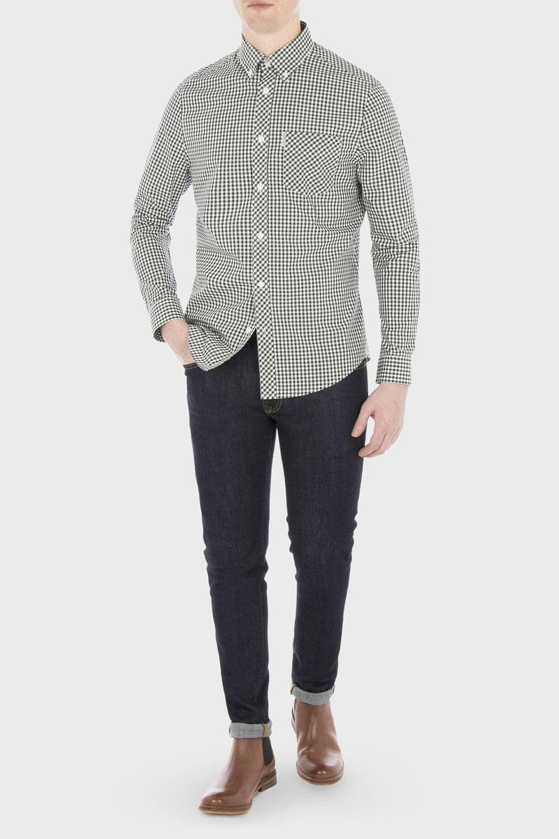 Green & White Checkered Gingham Long Sleeve Shirt