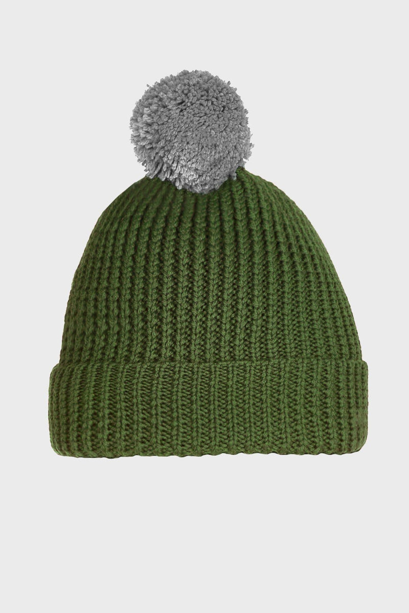 Green Merino Wool Pom Pom Beanie - Life in Paradigm Menswear London