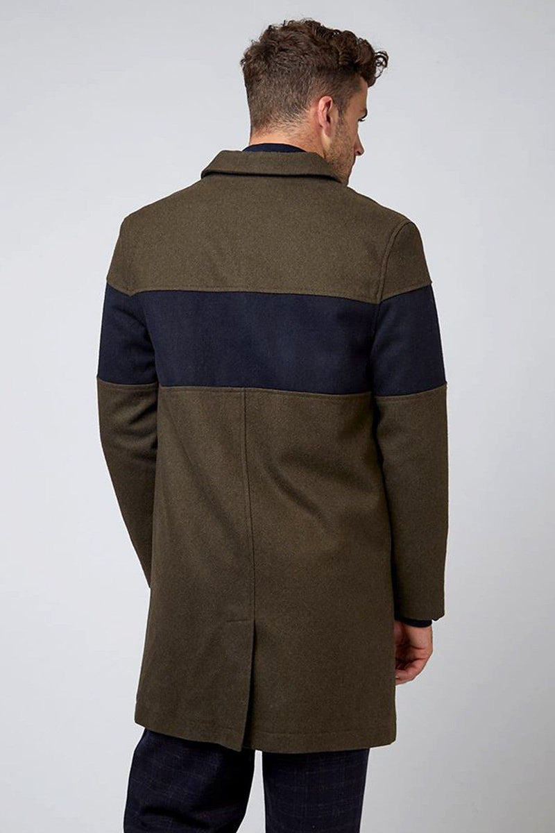 Green and Navy Willow Wool City Coat
