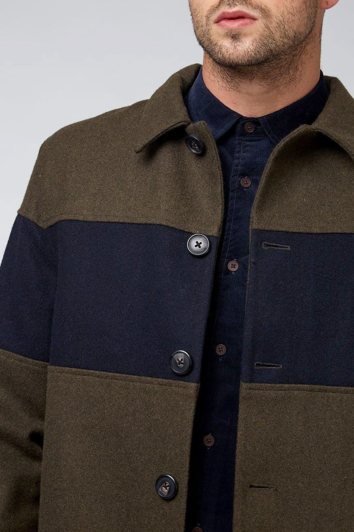 Green and Navy Willow Wool City Coat - Life in Paradigm Menswear London