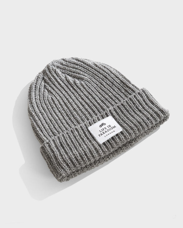 Grey Ribbed Fisherman Beanie - Life in Paradigm Menswear London