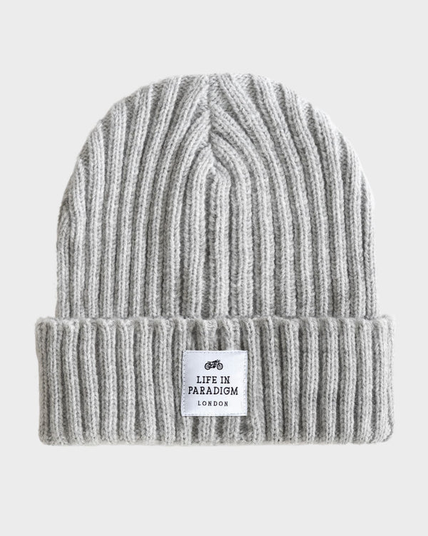 Grey Ribbed Beanie - Life in Paradigm Menswear London