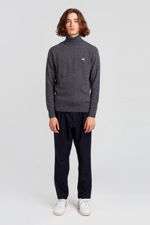 Grey Turtle Neck Duck Jumper - Life in Paradigm Menswear London