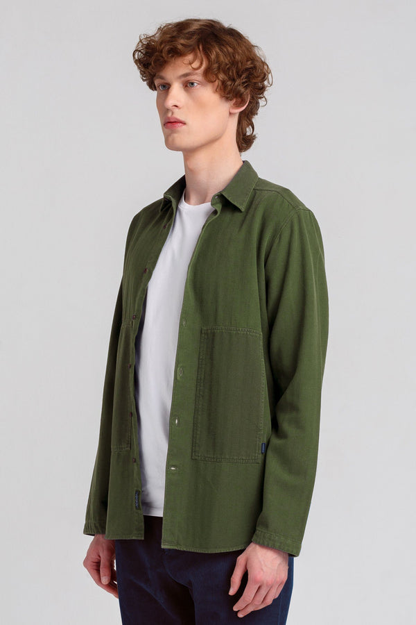 Khaki Green Twill Shirt - Edmmond Studios