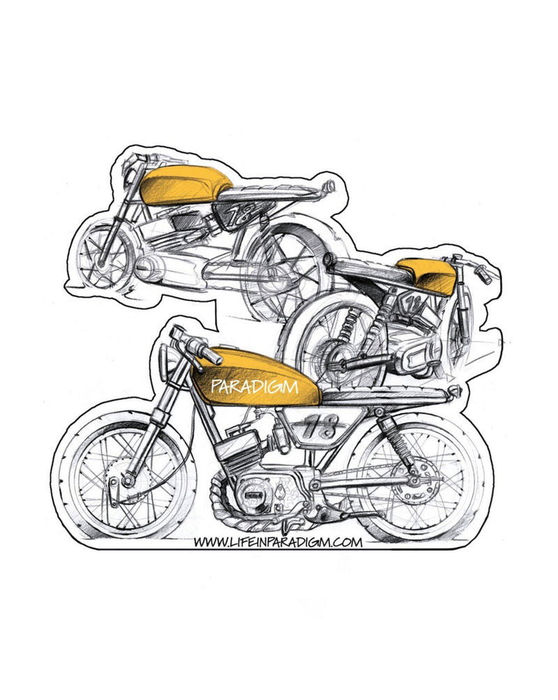 Life In Paradigm - Sticker 3 Packs media - Yamaha Rs200 Cafe Racer Sketch