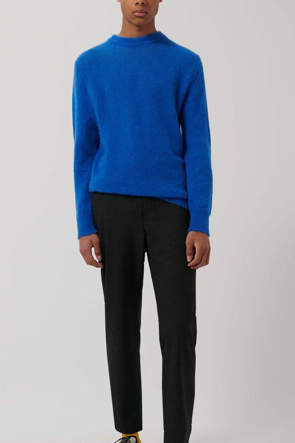 classic Blue Knitted Merino Wool Jumper - Life in Paradigm Menswear London