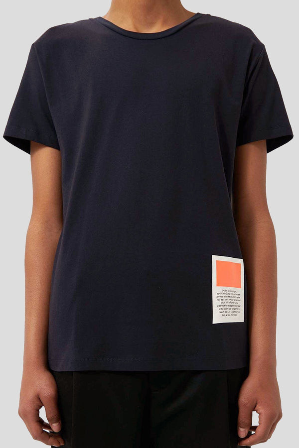 Navy Rectangle Orange T-Shirt - Life in Paradigm Menswear London