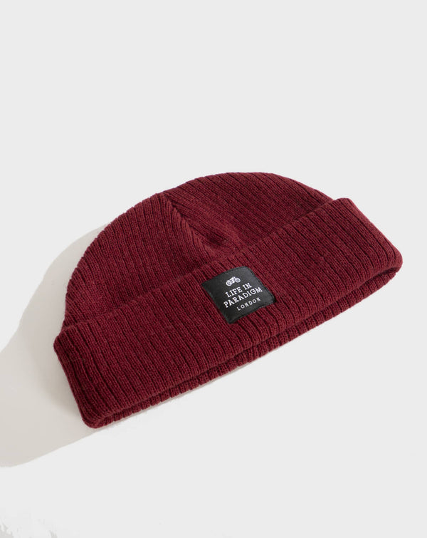 Maroon Fisherman Beanie - Life in Paradigm Menswear London