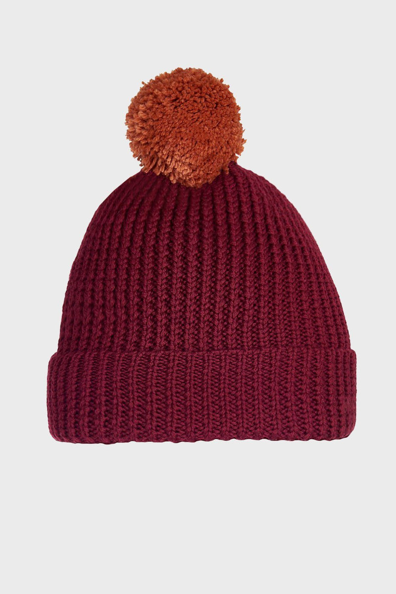 Maroon Merino Wool Pom Pom Beanie - Life in Paradigm Menswear London