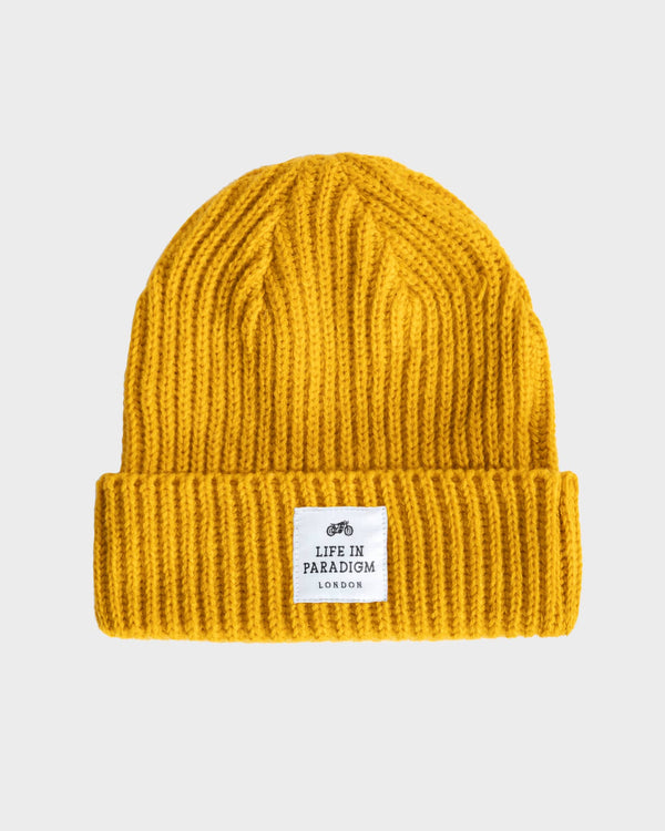 Mustard Ribbed Fisherman Beanie - Life in Paradigm Menswear London