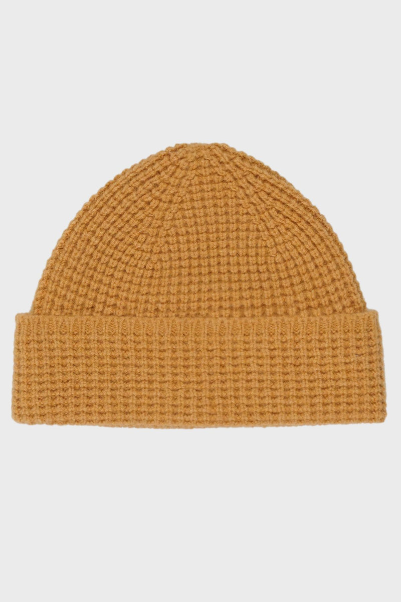 Mustard Scottish Wool Beanie - Life in Paradigm Menswear London
