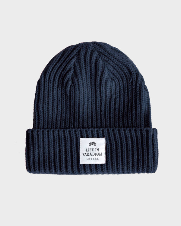 Navy Ribbed Fisherman Beanie - Life in Paradigm Menswear London