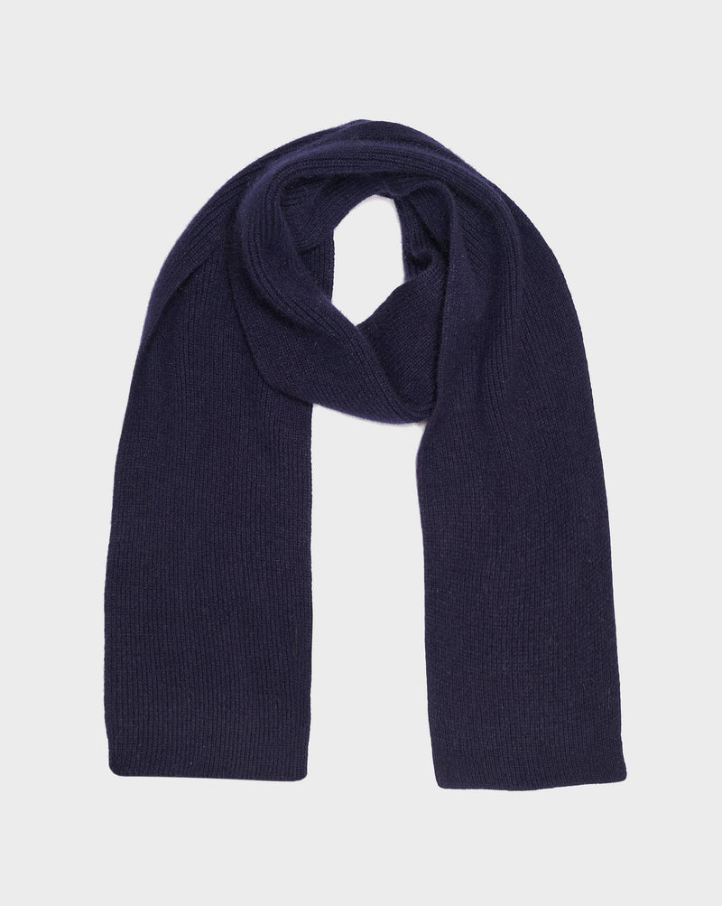 Navy Highland Wool Scarf - Life in Paradigm Menswear London