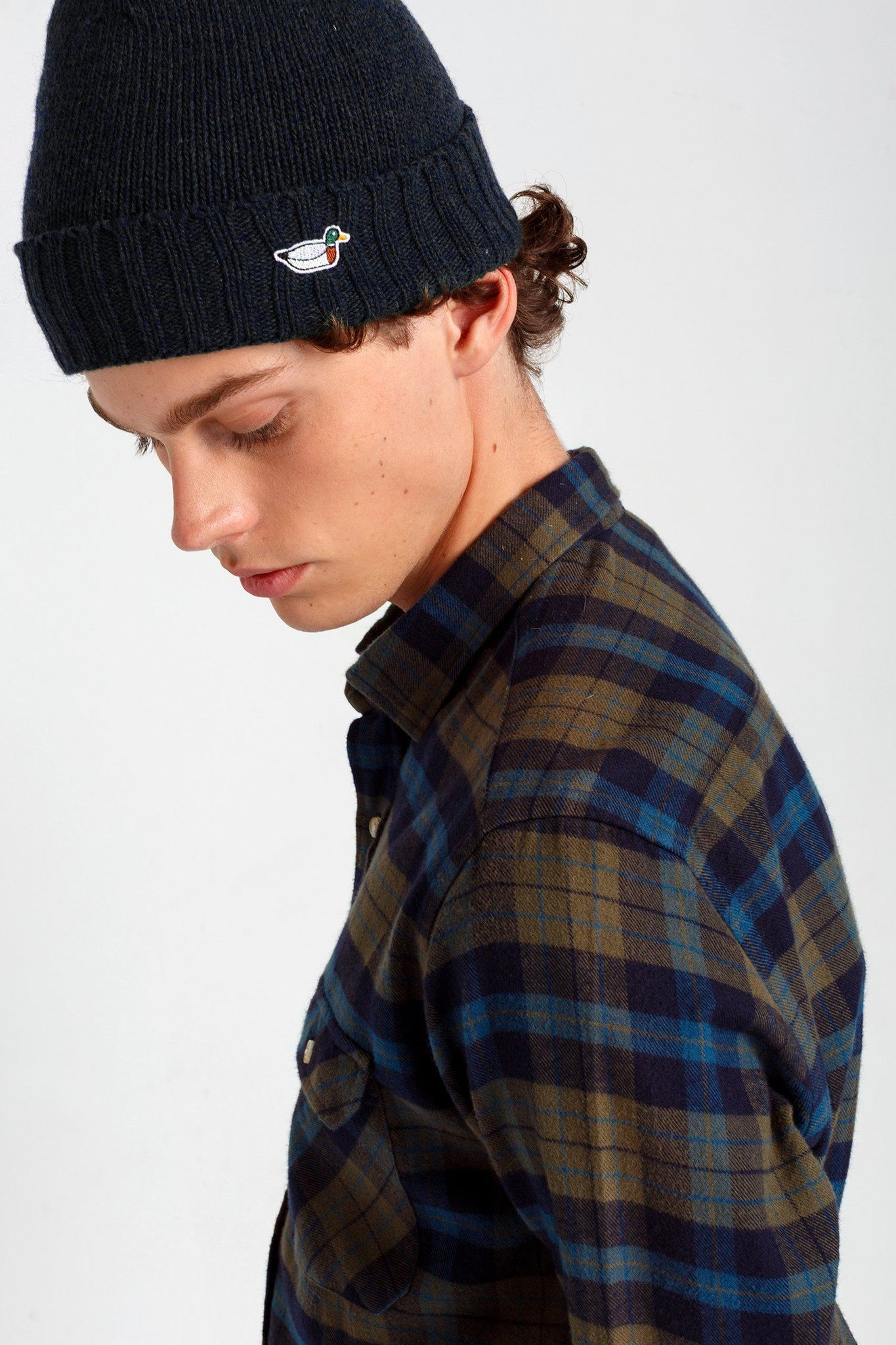 Navy Duck Fisherman Beanie - Life in Paradigm Menswear London