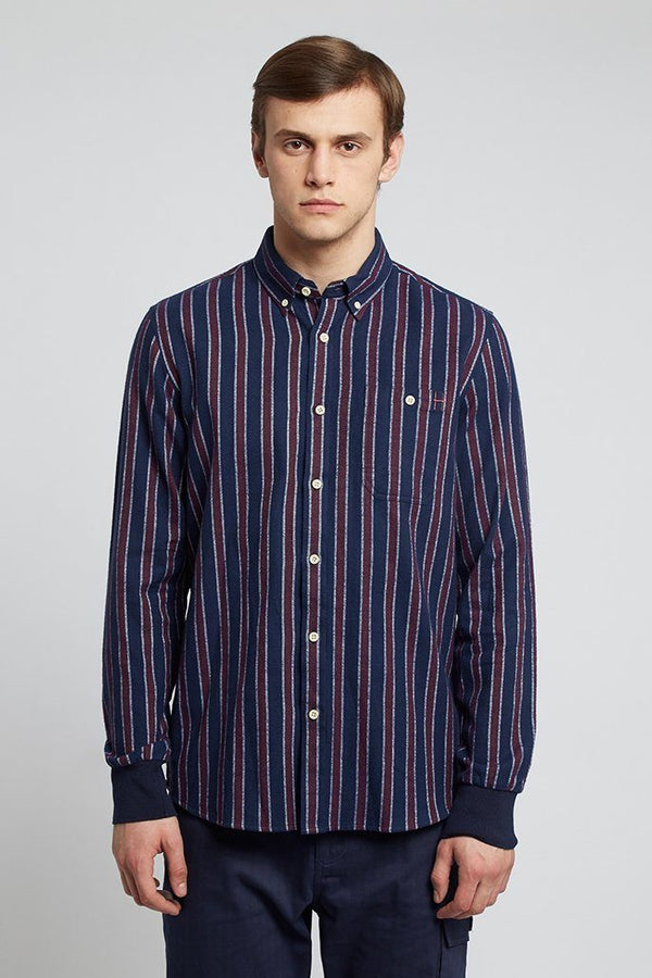 Navy & Tan Striped Shirt - Life in Paradigm Menswear London