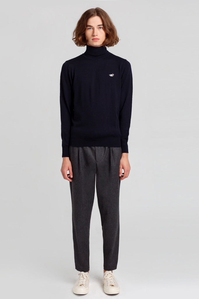 Navy Turtle Neck Duck Jumper - Life in Paradigm