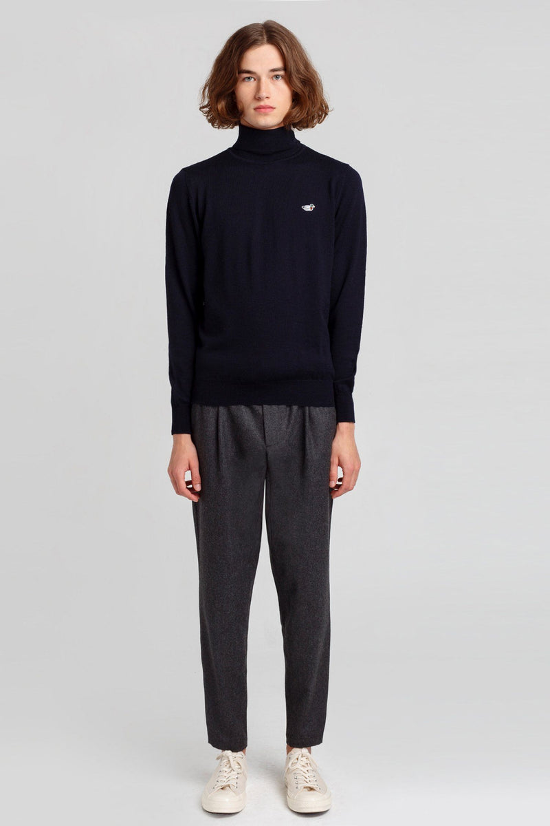 Navy Turtle Neck Duck Jumper - Life in Paradigm Menswear London