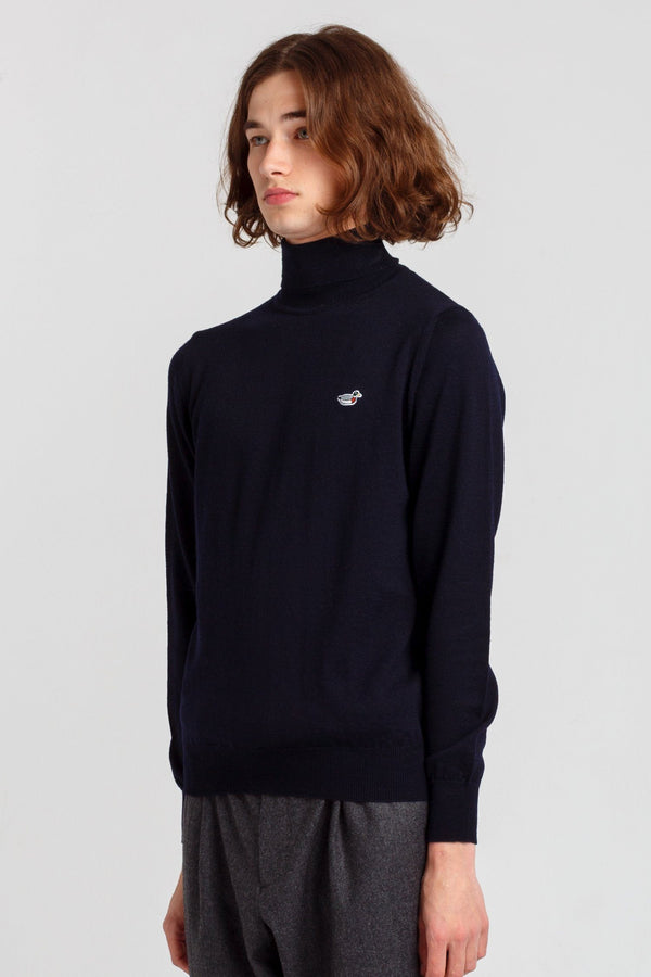 Navy Turtle Neck Duck Jumper - Edmmond Studios