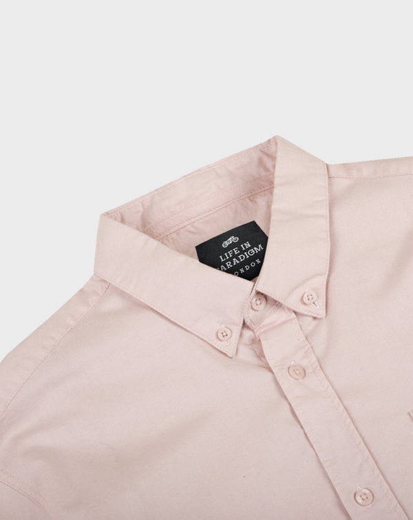 Salmon / Pink Short Sleeve Oxford Shirt - Life in Paradigm Menswear London