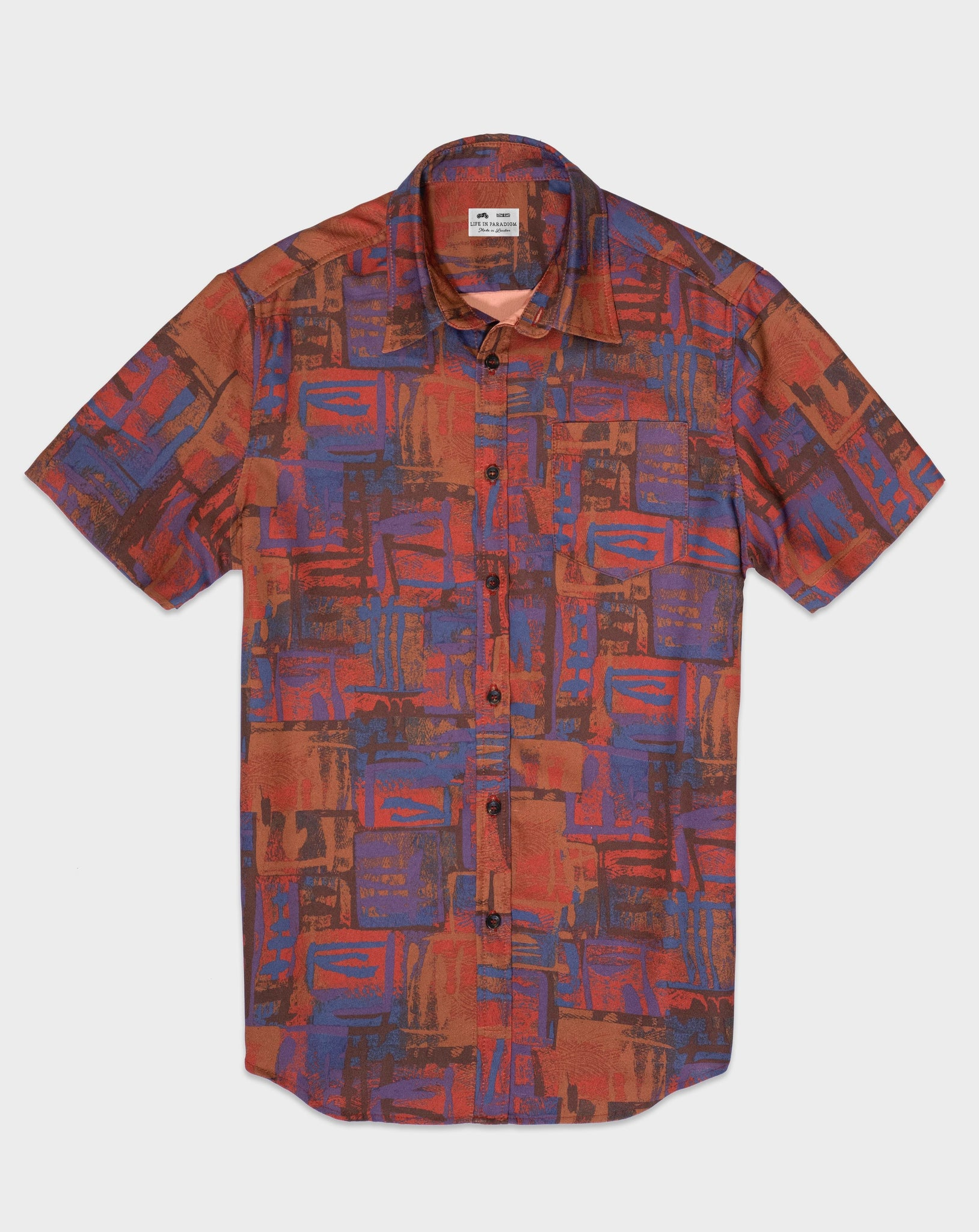 Orange Retro Pattern Short Sleeve Shirt - Life in Paradigm Menswear London