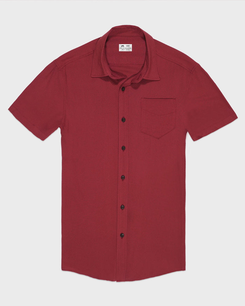 Red Short Sleeve Shirt - Life in Paradigm Menswear London