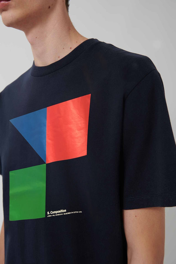 Red Green and Blue Compostion Navy T-shirt - Loreak