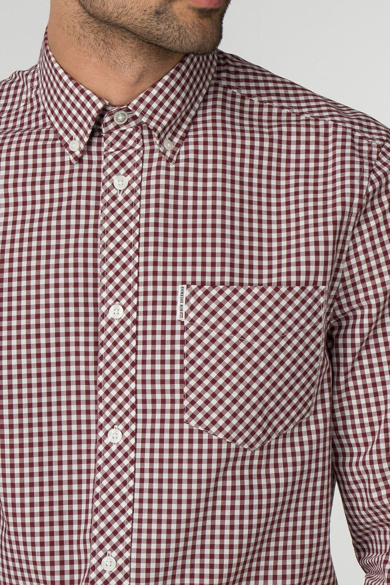 Red & White Checkered Gingham Long Sleeve Shirt