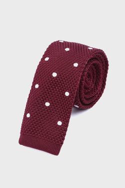 Red & White Polka Dot Knitted Tie