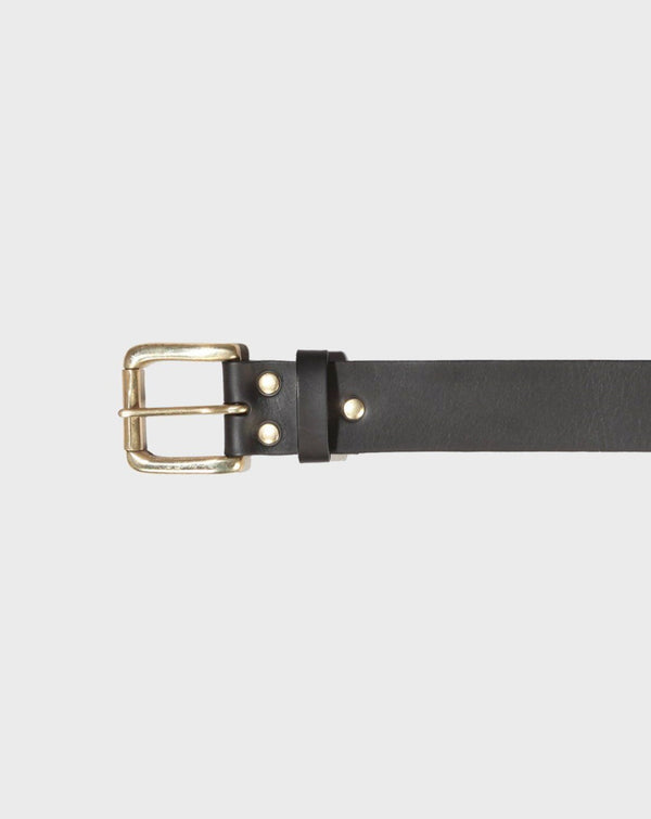 Stokey Black Leather Belt - Life in Paradigm Menswear London
