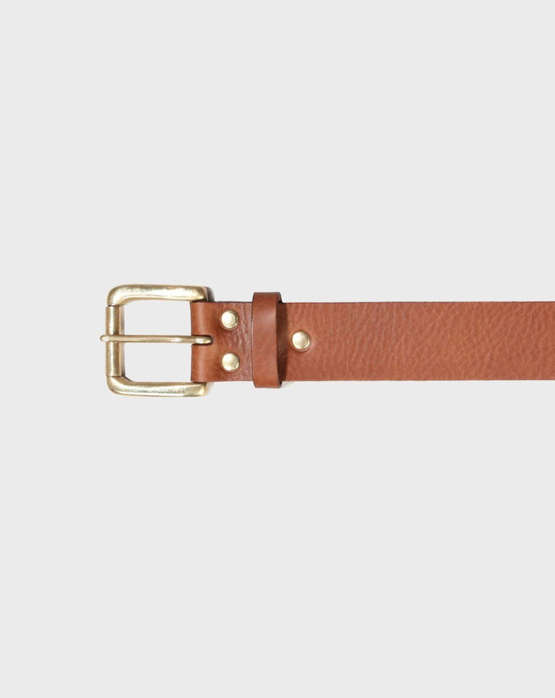 Stokey Brown Leather Belt - Life in Paradigm Menswear London