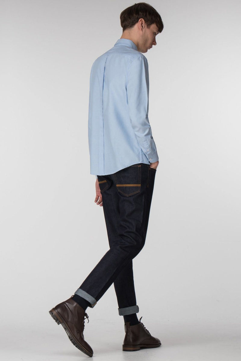 Sky Blue Long Sleeve Oxford Shirt - Life in Paradigm Menswear London