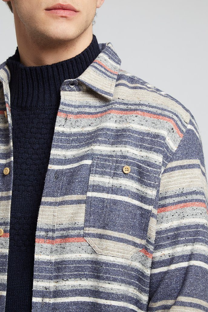 Striped Shirt Grey Blue And Red Blanket Shirt - Life in Paradigm Menswear London