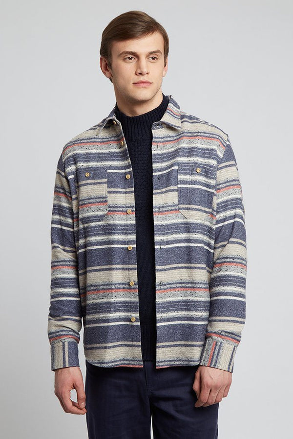 Striped shirt Grey Blue and Red Blanket Shirt