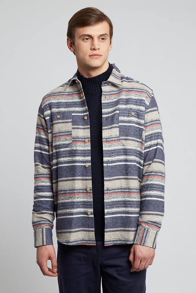 Striped Shirt Grey Blue And Red Blanket Shirt - Life in Paradigm