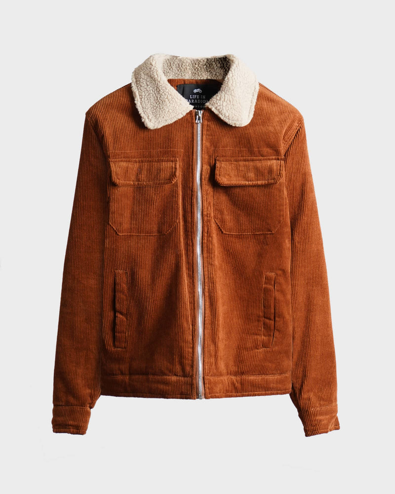 Tobacco corduroy sherpa jacket - Life in Paradigm Menswear London