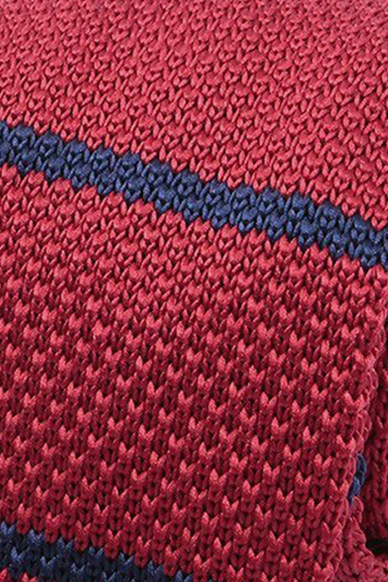 Red & Navy Knitted Tie