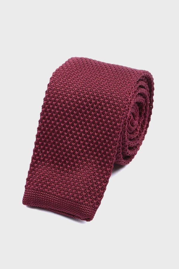 Burgundy Knitted tie - Life in Paradigm Menswear London
