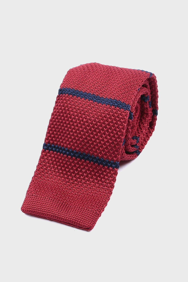 Red & Navy Knitted Tie - Life in Paradigm Menswear London