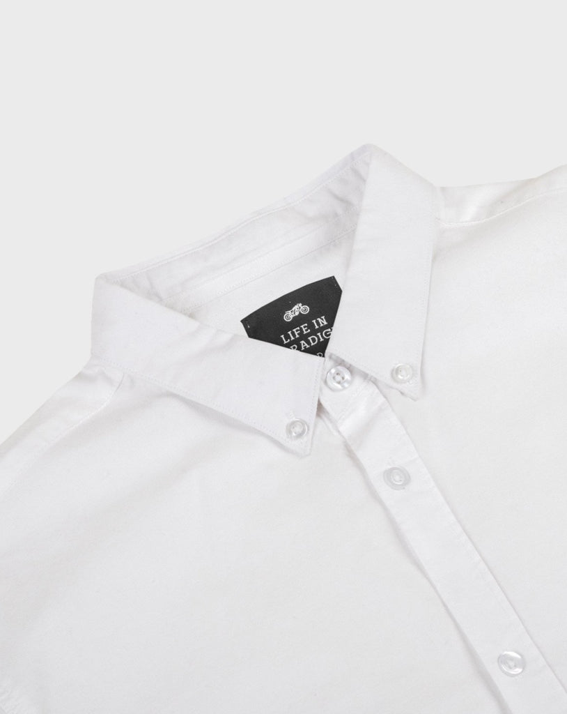 White Short Sleeve Oxford Shirt - Life in Paradigm